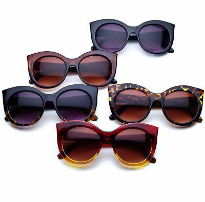Oversized Ladies Bold Round Lens Glam Cat eye Women's Sunglasses