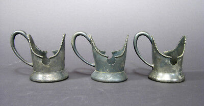 "Victorian Silverplate Soda Cup Holders, Beaded Edge, Well Worn, 3 3/4"" tall"