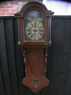 "19th Century ""Large"" Dutch Wall Clock with a Lovely Painted Dial"