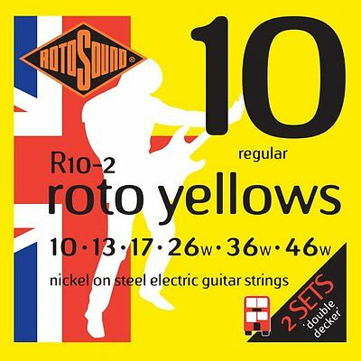 3 x Rotosound Roto Yellows R10-2 Double Decker Sets. 6 SETS OF STRINGS !!!