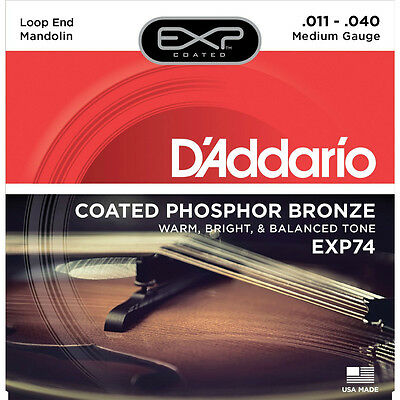 D'Addario EXP Coated Mandolin Strings - 80/20 Bronze & Phosphor Bronze Available