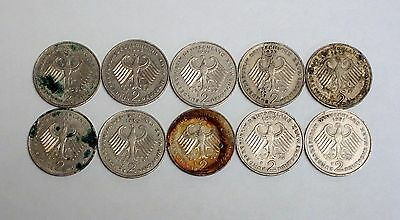 Circulated Lot of 10 Obsolete German 2 Marks (1970s-1990s)