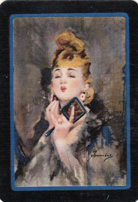 #16 1 wide single vintage single playing swap card - artist Barribal Lady - RW