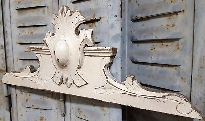 Shabby Hand Carved Wood Pediment Antique French Coat Of Arms Salvaged Furniture