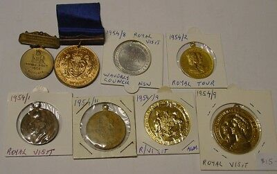 Australia. 1954 Royal Visit medals & medallions, eight different.