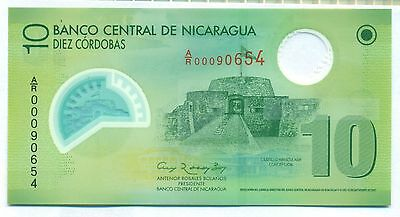 Nicaragua Note 10 Cordobas Replacement Polymer 2009 P 201 Unc