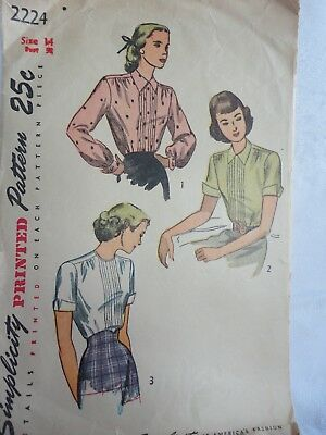 1940's Blouse with Tucks Vintage Sewing Pattern Size 14 B. 32 Inch Cut Complete