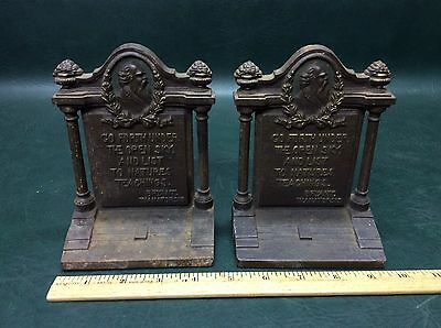 Rare Antique Cast Iron Bradley & Hubbard Bookends Bryant Thanatopsis