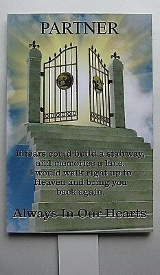 Weatherproof Metal Memorial Plaque Personalised PARTNER In Loving Memory