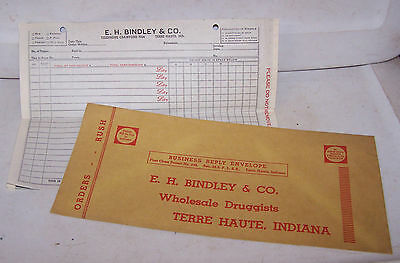 Vintage BINDLEY Wholesale Druggist Invoice & Envelope TERRE HAUTE INDIANA Lilly