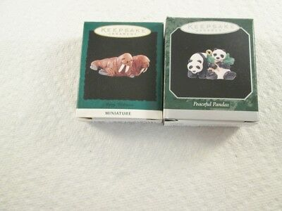 Hallmark Miniature - Peaceful Pandas, Merry Walruses Ornaments