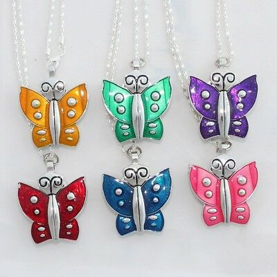 Wholesales! 10PCS Color Butterfly Pendant Necklace Watches Chain Included GL08T