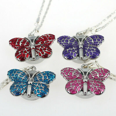 New 10PCS Cute Butterfly Pendant Necklace Watches Xmas gift 4Color Choice GL36T