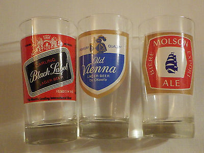 Molson Export Glass Old Vienna Glass Carling Glass Black Label Glass Trio