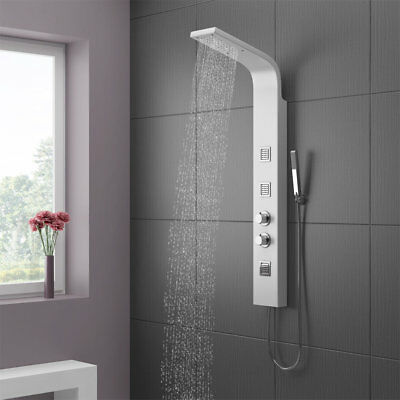 Thermostatic White Shower Column Tower Panel With Twin Heads Body Jets