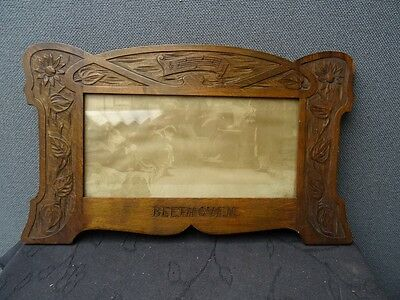 Arts And Crafts Frame And Print Featuring Beethoven With Carved Music Design