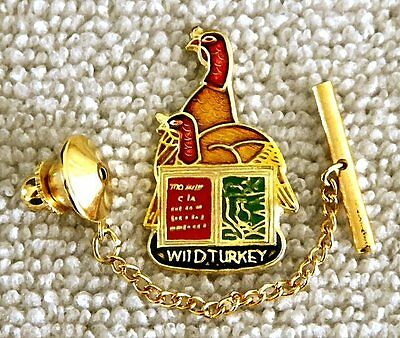 Wild Turkey Bourbon Whiskey Tie Tack Pin and Chain Clasp