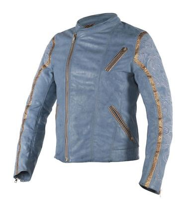 Dainese Gong Yun Mens Leather Jacket Dragon/Quing-Blue/Noble Yellow