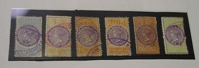 NSW Queen Victoria Stamp duty types, six different to 5 shillings.