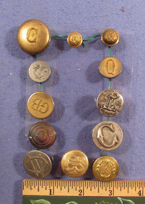 Antique Mixed Lot Of 12 1890S Monogramed Buttons All Different Military Etc