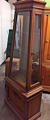 Vintage TALL 6 ' Wood & Glass Lighted Curio DISPLAY Cabinet W/ BOTTOM STORAGE