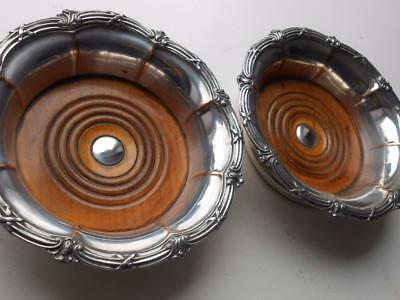 Lovely Old Pr Antique Fluted Sheffield Plate Silver Plated Wine Bottle Coasters