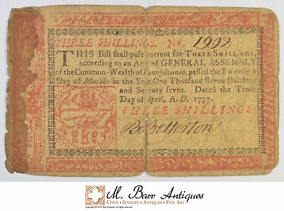 1777 3 Shillings Pennsylvania Colonial Currency *400