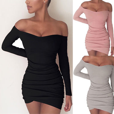 Women Long Sleeve Off Shoulder Evening Cocktail Party Club Bodycon Mini Dress US
