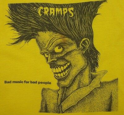 VINTAGE 80's THE CRAMPS BAD MUSIC FOR BAD PEOPLE PUNK PSYCHOBILLY T-SHIRT S/M