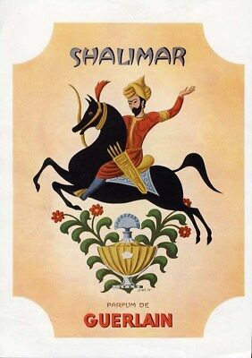 SHALIMAR Perfume Ad GUERLAIN by DARCY Art Deco Middle Eastern Man on Black Horse