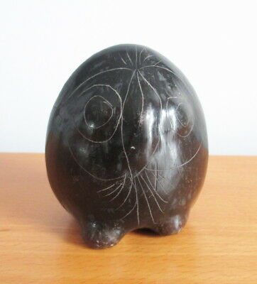 "Mexican Black Pottery Owl Figurine Etched Design 3 1/2"" Not Signed"