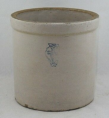 Antique White Hall Sewer Pipe & Stoneware Illinois Pottery 1 Gallon Crock Jar