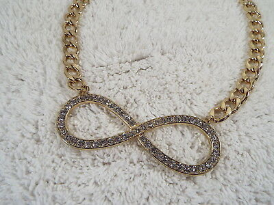 ETC! Goldtone Rhinestone Large Infinity Pendant Necklace (A53)
