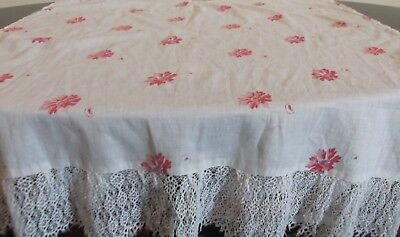 Panel Antique Vintage C1890's  Fabric  With Lace