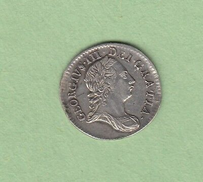 1763 Great Britain 3 Pence Silver Coin - George III - High Grade