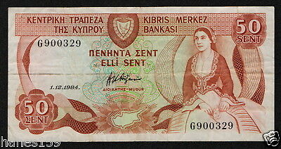 CYPRUS (P49a) 50 Cents 1984 F+