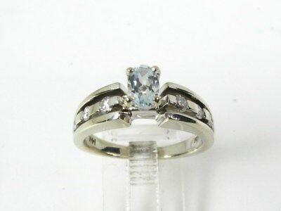 Estate 14k White Gold .50ct Aquamarine & Diamond Ladies Ring 5.9g