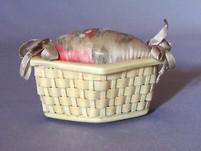 Antique Celluloid & Watercolor Silk Ribboned Weaved Laundry Basket Pin Cushion