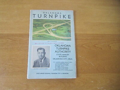 1953 Oklahoma Turnpike Map & Picture of Turnpike Being Built Gov Murray