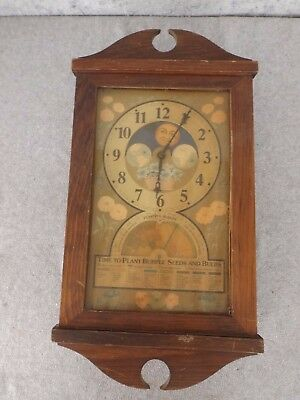 Vintage Time To Plant Burpee Seeds And Bulbs Electric Wall Clock Restore / Parts