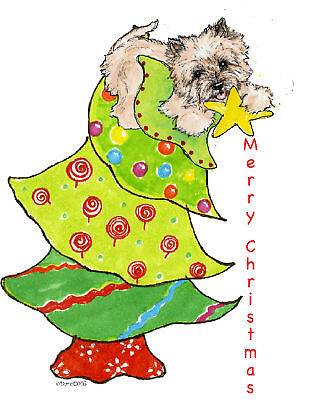 Cairn Terrier Christmas note cards add a short message inside Free
