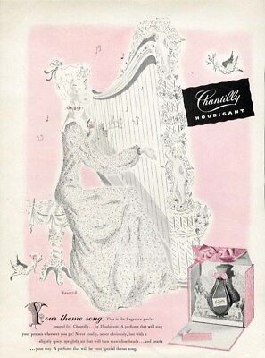 CHANTILLY by HOUBIGANT Perfume Ad 1944 Lady in Pink with Harp