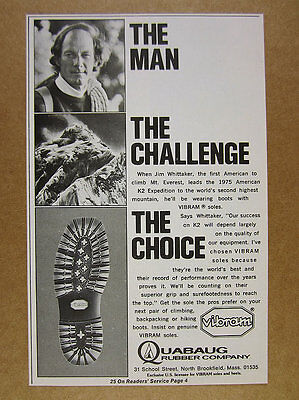 1974 Jim Whittaker photo K2 Expedition VIBRAM Boot Soles vintage print Ad