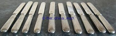 10 x antique SILVER PLATED PANEL REED WHITE STAR LINE KNIVES titanic interest