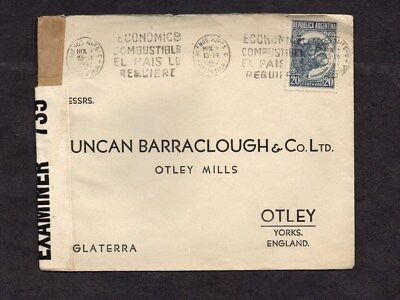 ARGENTINA.1942.COVER.CENSORED.WW2.20c BULL STAMP.BUENOS AIRES-OTLEY,U.K.