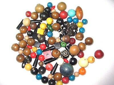 Vintage Wooden Buttons Beads Embellishments-Mostly Round-Variety Sizes Colors