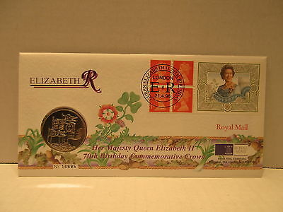 1996 Great Britain coin & stamp cover Elizabeth II 70th Birthday 5 pound coin