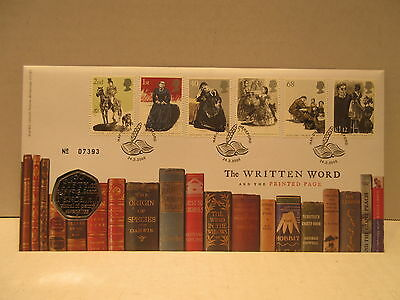 2005 Great Britain coin &  stamp cover The Written Word with fifty 50 Pence coin