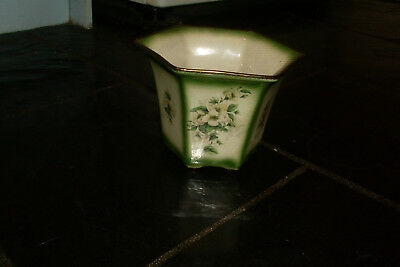 Vintage Staffordshire England Ceramic Pot Plant Holder -'Mayfayre' Floral Design