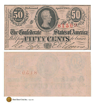 50¢ 1863 The Confederate States of America - Bust of Jefferson Davis  T-63 CR485